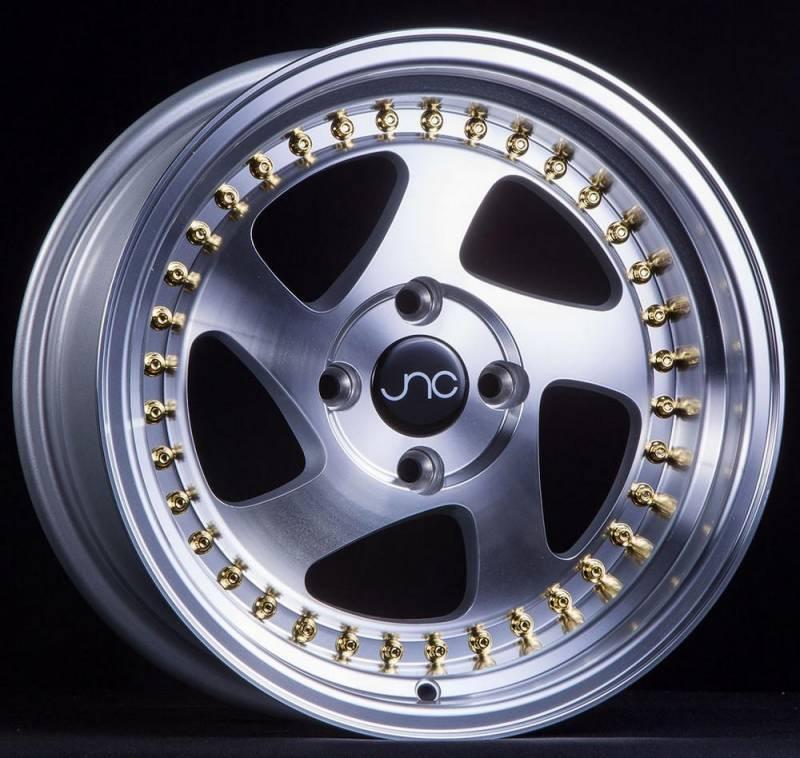 JNC Wheels Rim JNC034 Silver Machined Face Gold Rivets 15x8