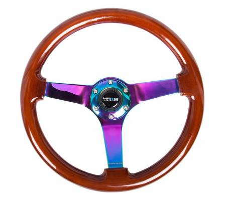 "NRG Innovations - NRG Innovations Reinforced Steering Wheel - Classic Dark Wood Grain Wheel (3"" Deep, 4mm ), 350mm, 3 Solid spoke center in Neochrome"