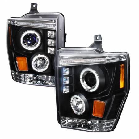 Spec-D Tuning - Spec-D Tuning 2008-2009 Ford F250 F350 F450 Dual Halo LED Projector Headlights