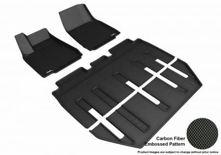 3D MAXpider (U-Ace) - 3D MAXpider FLOOR MATS TESLA MODEL X FOLDING 7-SEATS 2017-2019 KAGU BLACK R1 R2 R3