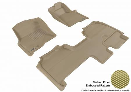3D MAXpider (U-Ace) - 3D MAXpider FLOOR MATS FORD F-150 2009-2010 SUPERCAB KAGU TAN R1 R2 (1 EYELET, NOT FIT 4X4 M/T FLOOR SHIFTER, TRIM TO FIT SUBWOOFER)