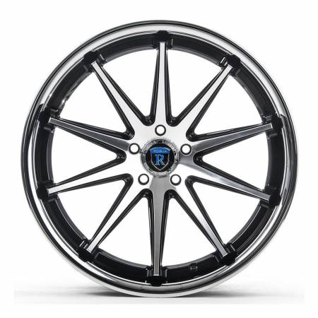 Rohana Wheels - Rohana Wheels Rim RC10 19x8.5 5x114 35ET Machine Black/Chrome Lip