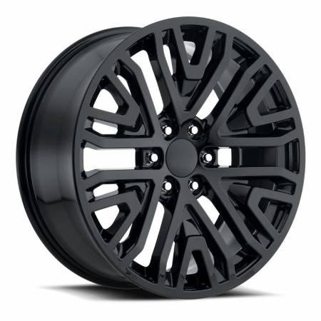 Factory Reproductions Wheels - FR Series 93 Replica GMC Mesh Wheel 22x9 6X5.5 ET28 78.1CB Gloss Black