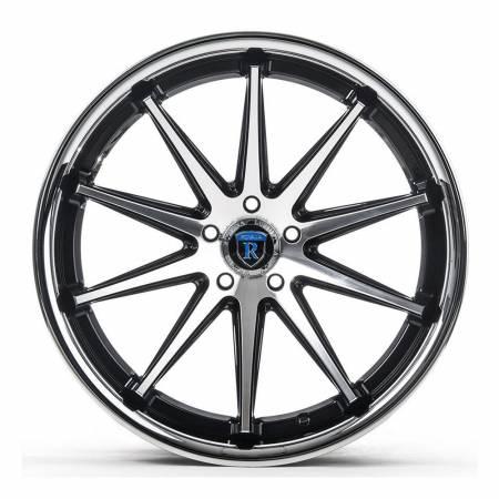 Rohana Wheels - Rohana Wheels Rim RC10 19x8.5 5x112 25ET Machine Black/Chrome Lip