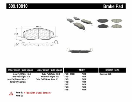 StopTech - StopTech Performance 05-09 Ford Mustang Cobra/Mach 1 V6/GT / 10 Shelby/Shelby GT Front Brake Pads