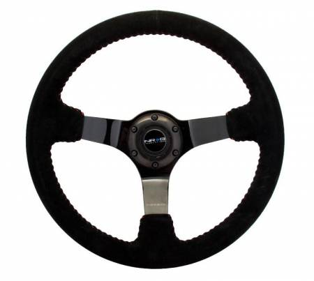NRG Innovations - NRG Innovations Reinforced Steering Wheel - 350mm sport steering wheel (3' deep) black Suede with red baseball stitching - BLACK spoke