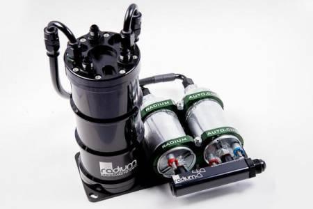 Radium Engineering - Radium Engineering Dual External Bosch 044 Vertical Fuel Surge Tank (Pumps Not Incl)