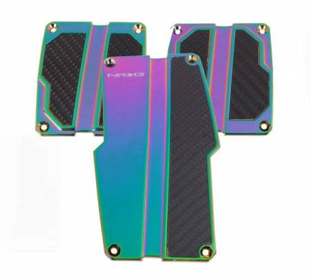 NRG Innovations - NRG Innovations Brushed Aluminum Sport Pedal Neo Chrome w/ Black Carbon MT