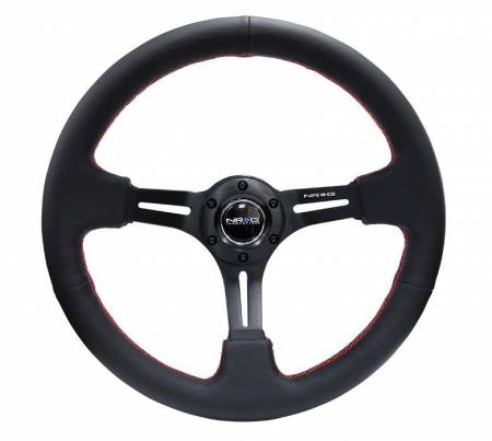 "NRG Innovations - NRG Innovations Reinforced Steering Wheel 350mm Sport Steering Wheel (3"" Deep) Black Leather with Red Stitching"
