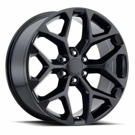 Factory Reproductions Wheels - FR Series 59 Replica Chevy Snowflake Wheel 24X10 6X5.5 ET30 78.1CB Gloss Black