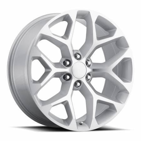 Factory Reproductions Wheels - FR Series 59 Replica Chevy Snowflake Wheel 22X9 6X5.5 ET31 78.1CB Silver Machine Face