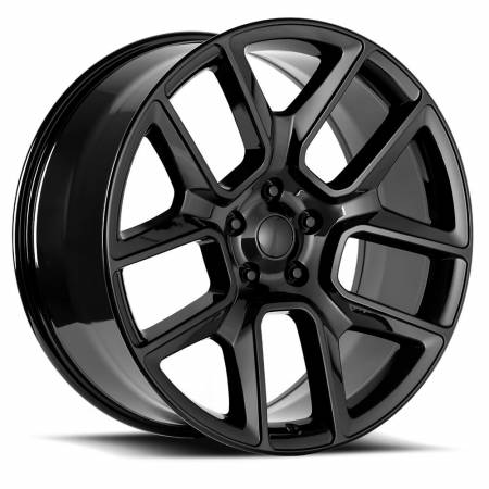 Factory Reproductions Wheels - FR Series 76 Replica Ram 1500 Wheel 22X9 5X5.5 ET15 77.8CB Gloss Black