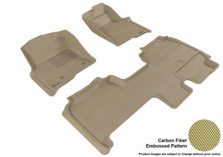 3D MAXpider (U-Ace) - 3D MAXpider FLOOR MATS FORD F-150 2010-2014 SUPERCAB KAGU TAN R1 R2 (2 POSTS, WITH HEATING DUCT, NOT FIT 4X4 M/T FLOOR SHIFTER, TRIM TO FIT SUBWOOFER)