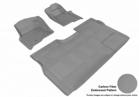3D MAXpider (U-Ace) - 3D MAXpider FLOOR MATS FORD F-150 2010-2014 SUPERCREW KAGU GRAY R1 R2 (2 POSTS, WITH HEATING DUCT, NOT FIT 4X4 M/T FLOOR SHIFTER, TRIM TO FIT SUBWOOFER)