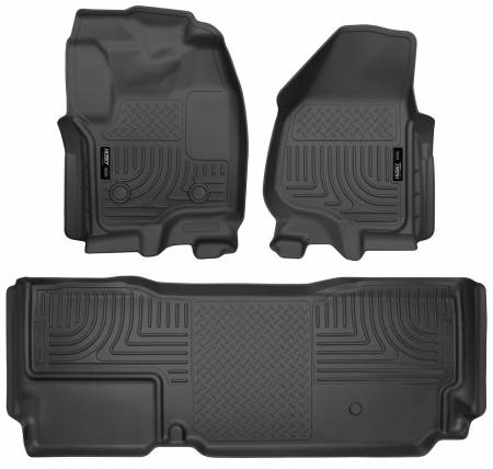 Husky Liners - Husky Liners 2012.5 Ford SD Super Cab WeatherBeater Combo Black Floor Liners (w/o Manual Trans Case)