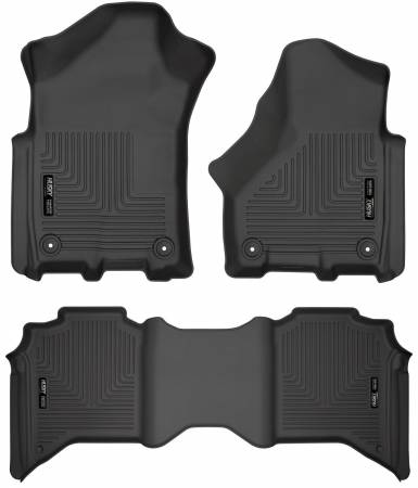 Husky Liners - Husky Liners 19 Dodge Ram 3500 Crew Cab Pickup WeatherBeater Black Front & 2nd Row Liners