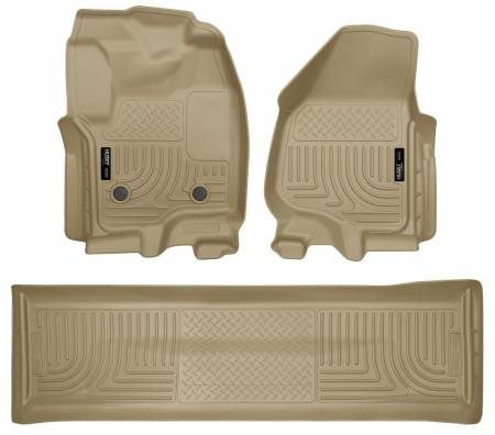 Husky Liners - Husky Liners 2012.5 Ford SD Crew Cab WeatherBeater Combo Tan Floor Liners (w/o Manual Trans Case)