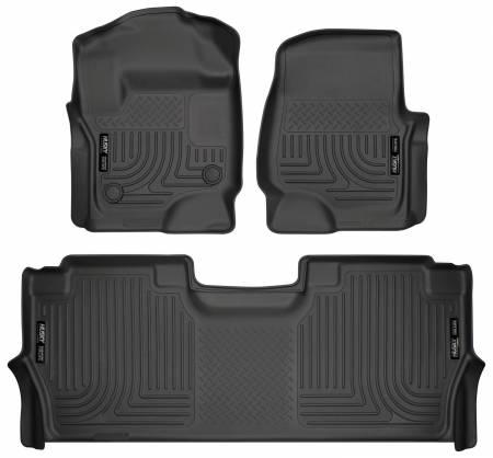 Husky Liners - Husky Liners 17-19 Ford F250 Super Duty CC w/Storage Box Front & 2nd Seat Weatherbeater Floor Liners