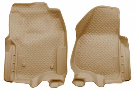 Husky Liners - Husky Liners 2012 Ford F250/F350 SD Super Cab Classic Style Tan Floor Liners (w/Manual Trans. Case)