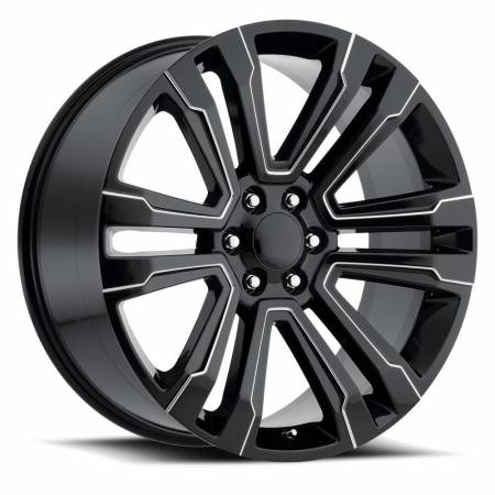 Factory Reproductions Wheels - FR Series 72 Replica Denali Wheel 24X10 6X5.5 ET30 78.1CB Gloss Black Ball Milled