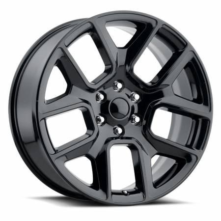 Factory Reproductions Wheels - FR Series 76 Replica Ram 1500 Wheel 22X9 6X5.5 ET15 77.8CB Gloss Black