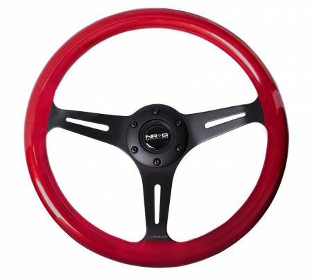 NRG Innovations - NRG Innovations Classic Wood Grain Wheel, 350mm 3 black spokes, red pearl/flake paint