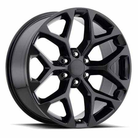 Factory Reproductions Wheels - FR Series 59 Replica Chevy Snowflake Wheel 22X9 6X5.5 ET31 78.1CB Gloss Black