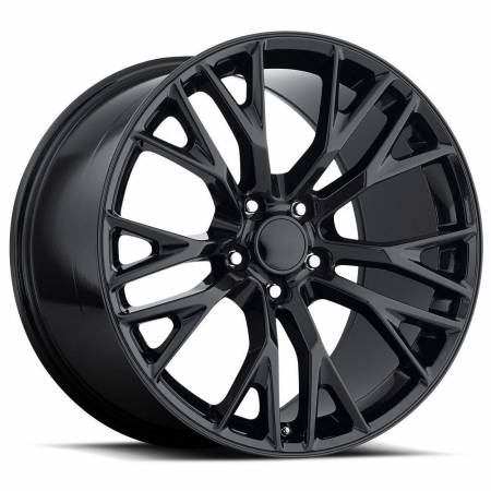 Factory Reproductions Wheels - FR Series 22 Replica C7 Corvette Wheel 18X9.5 5X4.75 ET57 70.3CB Gloss Black