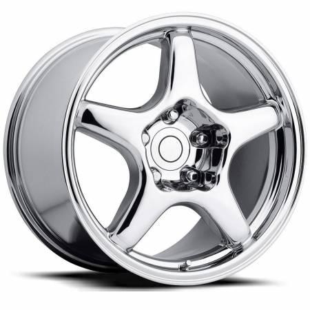 Factory Reproductions Wheels - FR Series 21 Replica C4 Corvette Wheel 17X9.5 5X4.75 ET54 70.3CB Chrome