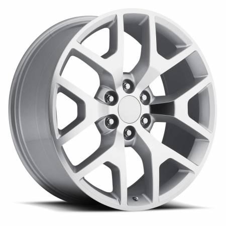 Factory Reproductions Wheels - FR Series 44 Replica GMC Sierra Wheel 24X10 6X5.5 ET31 78.1CB Silver Machine Face