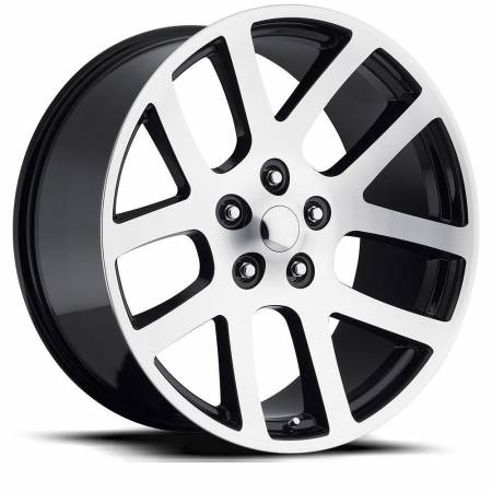 Factory Reproductions Wheels - FR Series 60 Replica Ram 1500 Wheel 24X10 5X5.5 ET25.4 77.8CB Gloss Black Machine Face