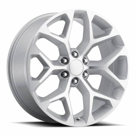 Factory Reproductions Wheels - FR Series 59 Replica Chevy Snowflake Wheel 22X9 6X5.5 ET31 78.1CB Silver Machine Face