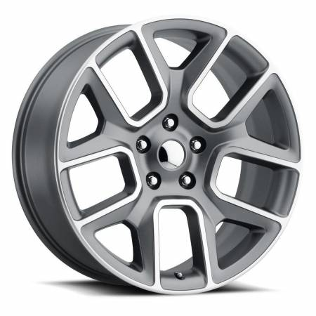 Factory Reproductions Wheels - FR Series 76 Replica Ram 1500 Wheel 22X9 6X5.5 ET15 77.8CB Satin Grey Machine Face