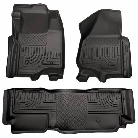 Husky Liners - Husky Liners 11-12 Ford SD Super Cab WeatherBeater Combo Black Floor Liners (w/o Manual Trans Case)