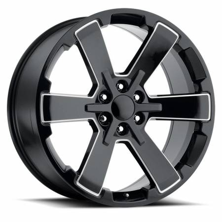 Factory Reproductions Wheels - FR Series 45 Replica 6 Star Wheel 24X10 6X5.5 ET30 78.1CB Gloss Black Ball Milled