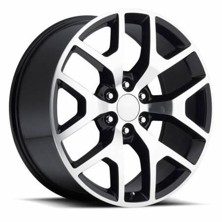 Factory Reproductions Wheels - FR Series 44 Replica GMC Sierra Wheel 22X9 6X5.5 ET31 78.1CB Gloss Black Machine Face