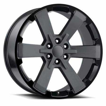 Factory Reproductions Wheels - FR Series 45 Replica 6 Star Wheel 22X9 6X5.5 ET24 78.1CB Two Tone Satin/Gloss Black