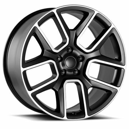 Factory Reproductions Wheels - FR Series 76 Replica Ram 1500 Wheel 24X10 5X5.5 ET15 77.8CB Satin Black Machine Face
