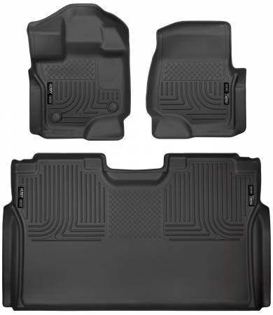 Husky Liners - Husky Liners 15-19 Ford F-150 SuperCrew Cab Front & 2nd Seat Weatherbeater Floor Liners