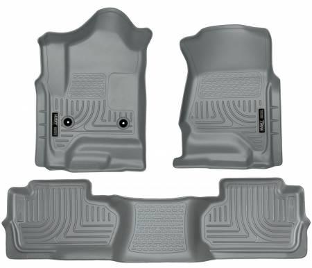 Husky Liners - Husky Liners 14 Chevrolet Silverado/GMC Sierra Dbl Cab WeatherBeater Grey Front&2nd Seat Floor Liner
