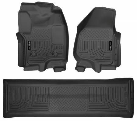Husky Liners - Husky Liners 2012.5 Ford SD Crew Cab WeatherBeater Combo Black Floor Liners (w/o Manual Trans Case)