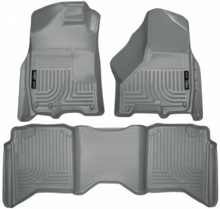 Husky Liners - Husky Liners 2012 Dodge Ram 1500/2500/3500 Crew Cab WeatherBeater Combo Gray Floor Liners