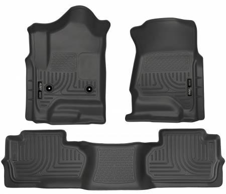 Husky Liners - Husky Liners 14 Chevrolet Silverado/GMC Sierra Dbl Cab WeatherBeater Black Front&2nd Seat Floor Line