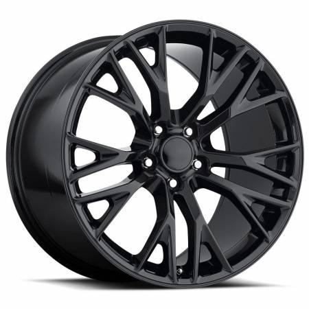 Factory Reproductions Wheels - FR Series 22 Replica C7 Corvette Wheel 20X12 5X4.75 ET59 70.3CB Gloss Black
