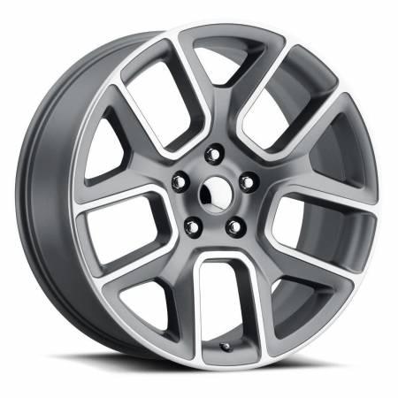 Factory Reproductions Wheels - FR Series 76 Replica Ram 1500 Wheel 22X9 6X5.5 ET15 77.8CB Satin Grey Machine Face