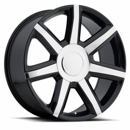 Factory Reproductions Wheels - FR Series 56 Replica Escalade Luxury Wheel 22X9 6X5.5 ET31 78.1CB Gloss Black with Chrome Inserts