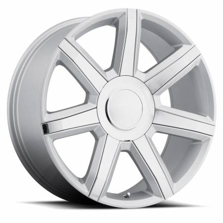 Factory Reproductions Wheels - FR Series 56 Replica Escalade Luxury Wheel 22X9 6X5.5 ET31 78.1CB Silver with Chrome Inserts