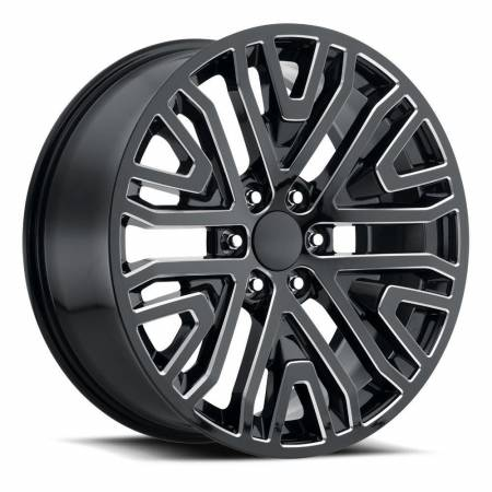Factory Reproductions Wheels - FR Series 93 Replica GMC Mesh Wheel 22x9 6X5.5 ET28 78.1CB Gloss Black Ball Milled