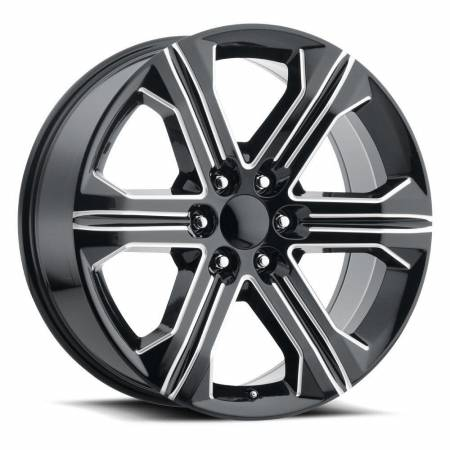 Factory Reproductions Wheels - FR Series 47 Replica GMC Sierra Wheel 22X9 6X5.5 ET24 78.1CB Gloss Black Ball Milled
