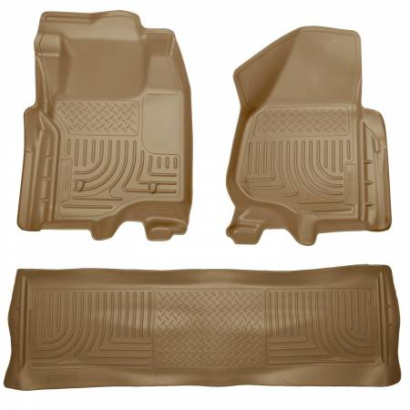 Husky Liners - Husky Liners 11-12 Ford SD Crew Cab WeatherBeater Combo Tan Floor Liners (w/o Manual Trans Case)
